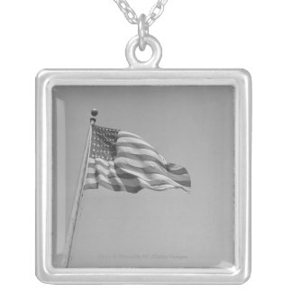 American flag on mast silver plated necklace