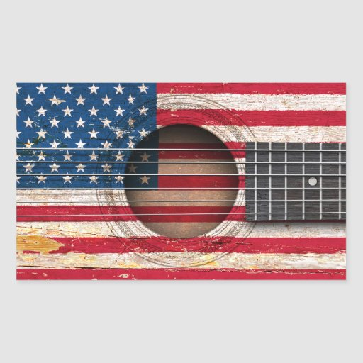 American Flag on Old Acoustic Guitar Rectangle Sticker