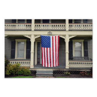 American Flag on Vermont Porch Poster
