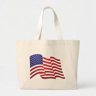AMERICAN FLAG ONDULATING - BIG SPANGLE BANNER LARGE TOTE BAG