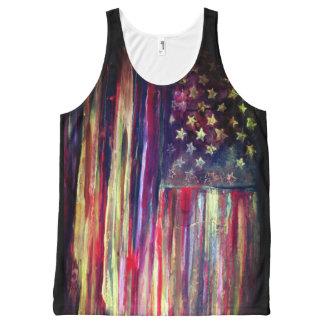 American Flag Original Artwork All-Over Print Singlet