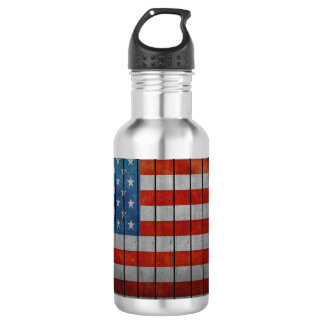 American Flag Painted Fence 532 Ml Water Bottle