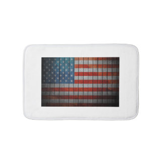 American Flag Painted Fence Bath Mats