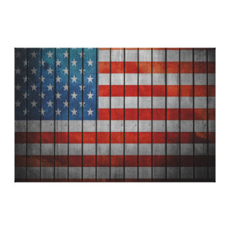 American Flag Painted Fence Canvas Print