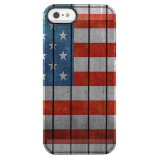 American Flag Painted Fence Clear iPhone SE/5/5s Case
