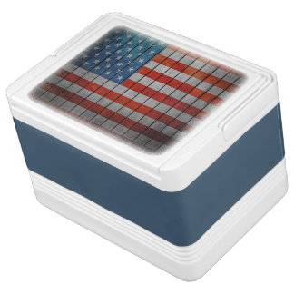 American Flag Painted Fence Cooler