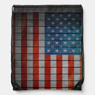 American Flag Painted Fence Drawstring Bag