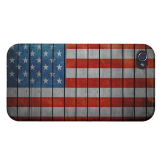 American Flag Painted Fence iPhone 4 Cases