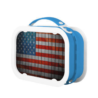 American Flag Painted Fence Lunch Boxes