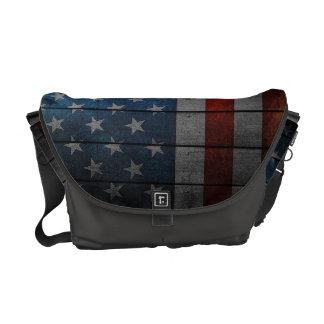 American Flag Painted Fence Messenger Bag