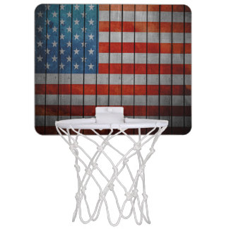 American Flag Painted Fence Mini Basketball Hoop