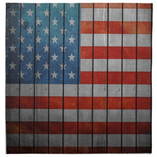 American Flag Painted Fence Printed Napkin