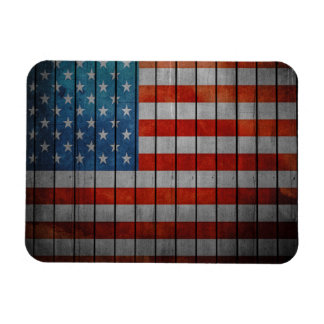 American Flag Painted Fence Rectangular Photo Magnet