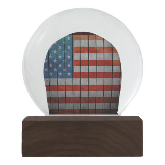 American Flag Painted Fence Snow Globes