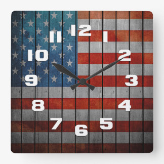 American Flag Painted Fence Square Wall Clock