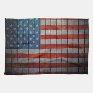 American Flag Painted Fence Tea Towel