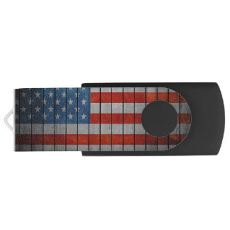 American Flag Painted Fence USB Flash Drive