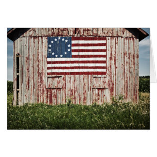 American flag painted on barn greeting card