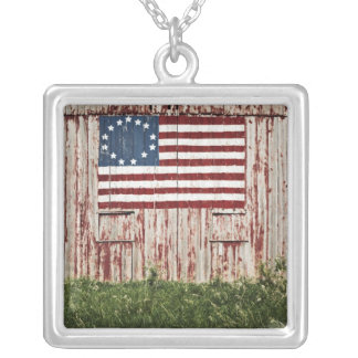 American flag painted on barn square pendant necklace