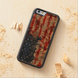 American Flag Painted on Grunge Wall Carved® Cherry iPhone 6 Bumper