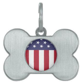 American Flag patriot shield Pet ID Tag