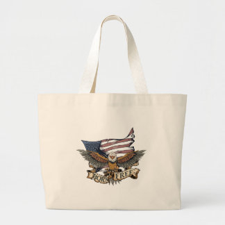 American Flag Patriotic Bald Eagle Born Free Jumbo Tote Bag