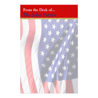 American Flag Patriotic Gift for Soldiers Customized Stationery