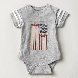 American Flag patriotic Guitar Music theme Baby Bodysuit