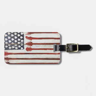 American Flag patriotic Guitar Music theme Luggage Tag
