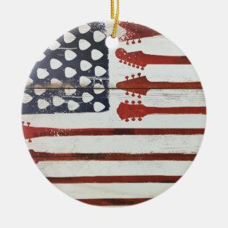 American Flag patriotic Guitar Music theme Round Ceramic Decoration