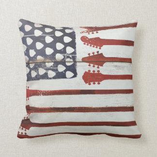 American Flag patriotic Guitar Music Throw Pillow