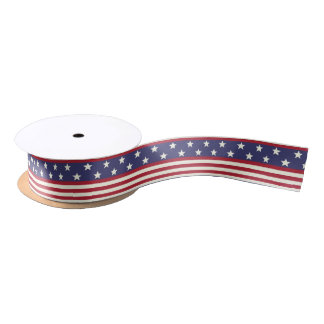 American Flag Patriotic Stars and Stripes USA Satin Ribbon