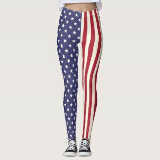 American Flag Patriotic Stars and Stripes USA V2 Leggings