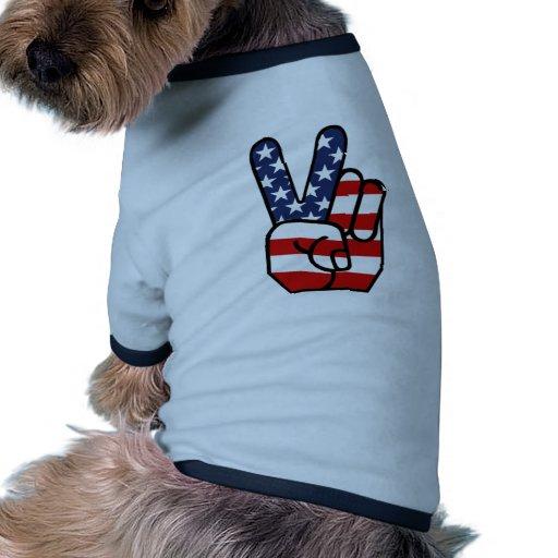 American Flag Peace Hand Doggie Tee