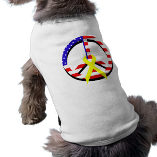 American Flag Peace & Ribbon Dog T Shirt