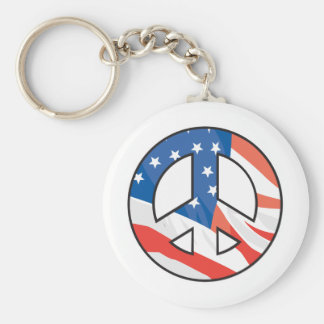 American Flag Peace Sign Basic Round Button Key Ring
