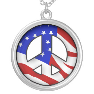 American Flag Peace Sign Round Pendant Necklace