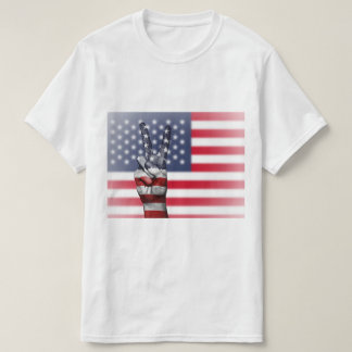 American Flag Peace Sign - Patriotic T-Shirt
