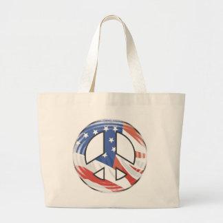 American Flag Peace Sign Tote Bag