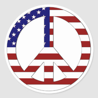 American Flag Peace sign USA Classic Round Sticker
