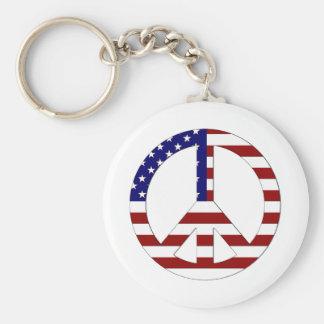 American Flag Peace sign USA Key Chain