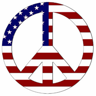 American Flag Peace sign USA Photo Sculptures