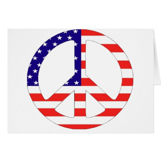 American Flag Peace Symbol Greeting Card