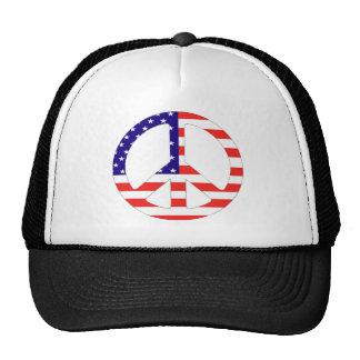 American Flag Peace Symbol Mesh Hats