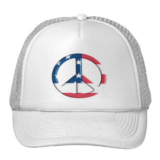 AMERICAN FLAG PEACE SYMBOL TRUCKER HAT