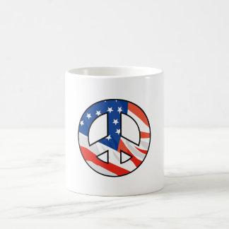 American Flag Peace Symbol Mug