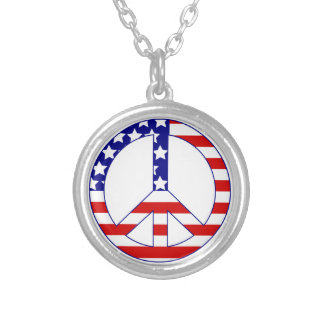 american flag peace symbol round pendant necklace