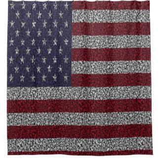 American Flag Pebble Garden Shower Garden Shower Curtain