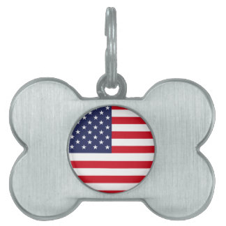 American flag pet name tag