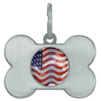 AMERICAN FLAG PET NAME TAGS